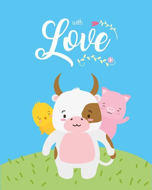 Vaca, pintinho e porquinho animais fofos com palavra de amor, estilo simples Vetor grátis