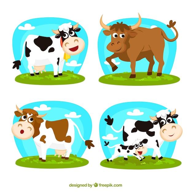 Vacas dos desenhos animados Vetor grátis