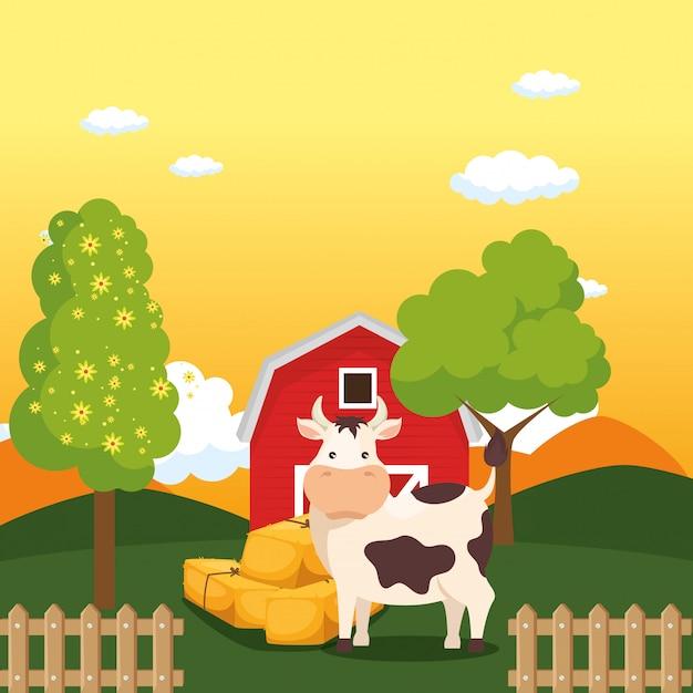 Vacas na cena da fazenda Vetor grátis