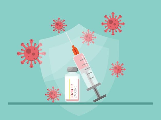 Vacina e seringa para ilustração vetorial de prevenção Vetor Premium