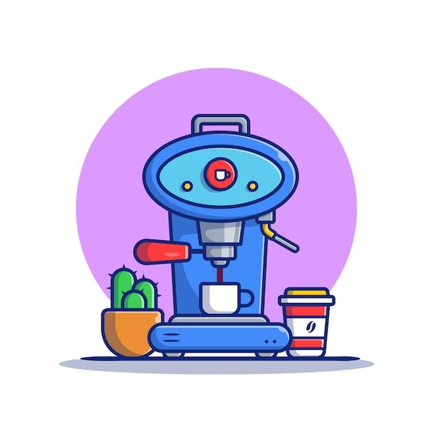 Vagem de máquina de café, caneca, copo e ilustração do ícone dos desenhos animados do cacto. conceito de ícone de máquina de café isolado premium. estilo flat cartoon Vetor Premium