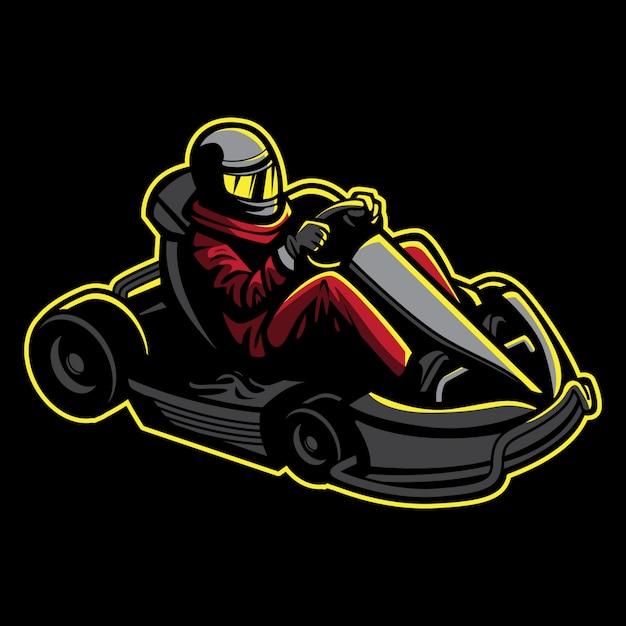 Vai a ilustração do kart no estilo retro Vetor Premium