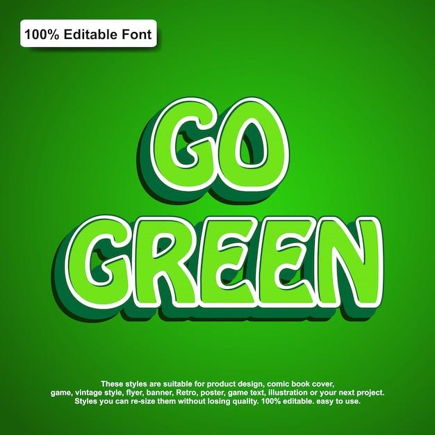 Vai o efeito de texto verde Vetor Premium