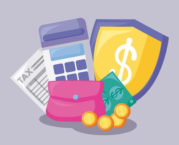 Vale com economia e financeiro Vetor Premium