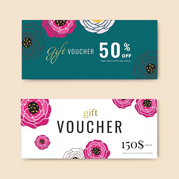 Vale-presente com flor Vetor Premium