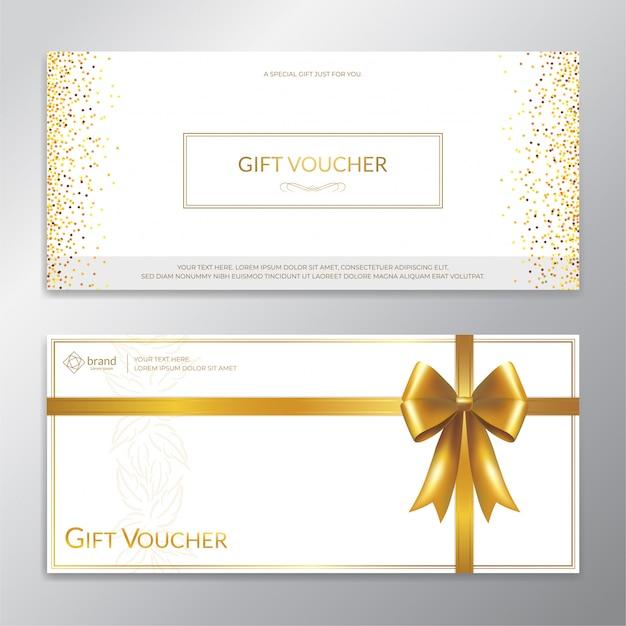 Vale-presente de glitter dourados, certificado, cupom para a temporada festiva Vetor Premium