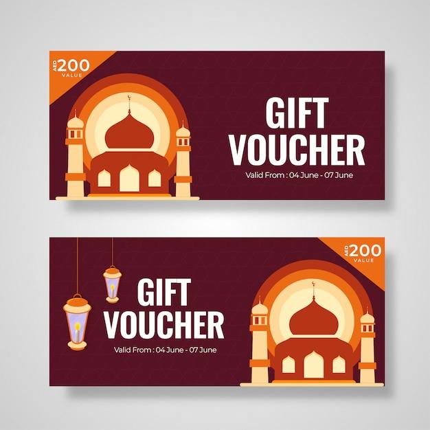 Vale-presente ou coleção de layout de cupom com mesquita illustratio Vetor Premium