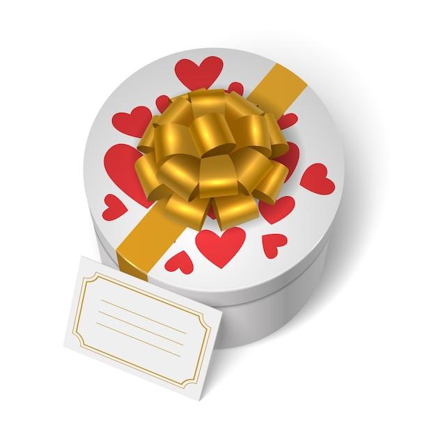 Valentim caixa presente com corações vermelhos Vetor grátis