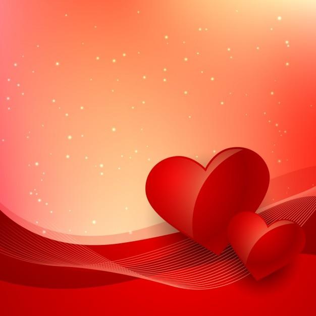 Valentim fundo vermelho com ondas e corações Vetor grátis