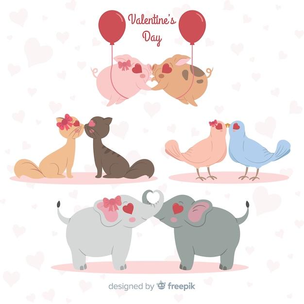 Valentine beijando a coleção de animais do casal Vetor grátis