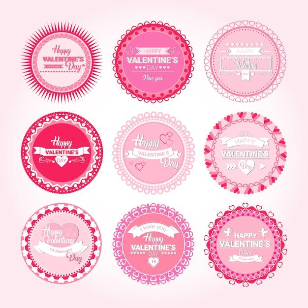 Valentine day gift card conjunto de selo de adesivo de amor de férias Vetor Premium