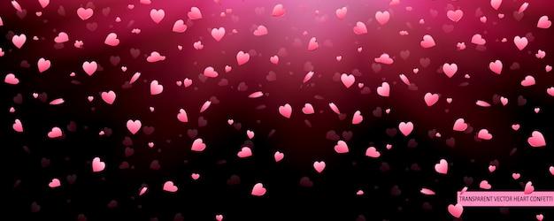 Valentine day pink hearts confetti pétalas caindo de fundo vector. padrão de textura de coração. Vetor Premium