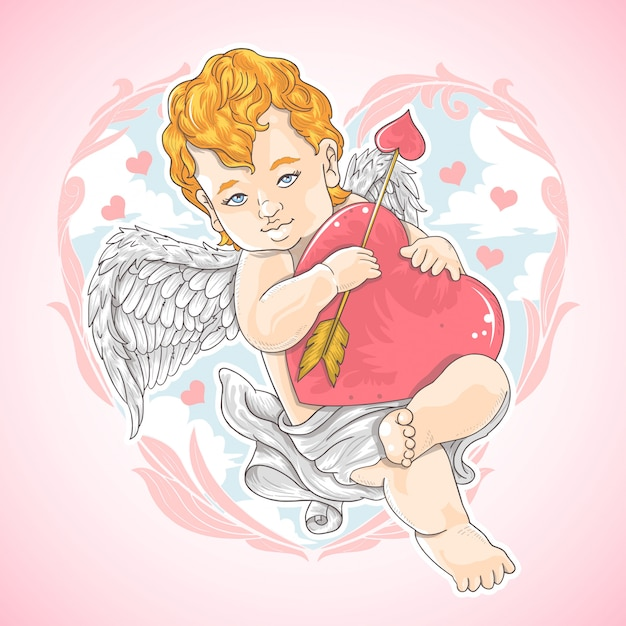 Valentine love cupid Vetor Premium