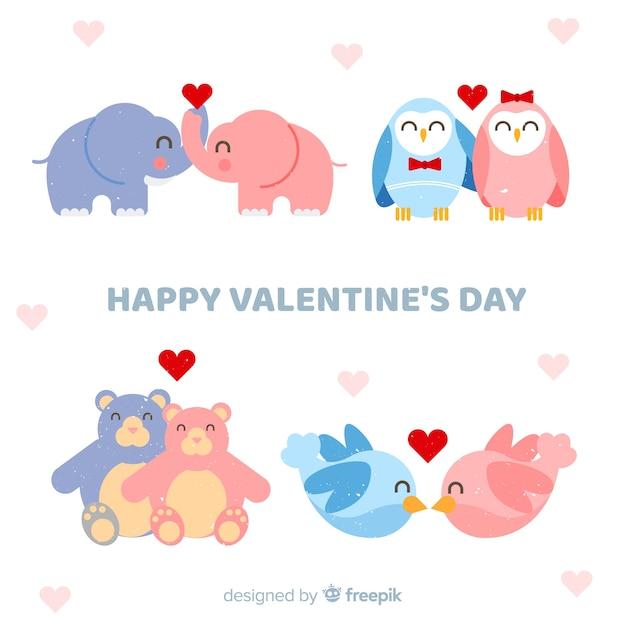 Valentine, sorrindo, animal, par, cobrança Vetor grátis