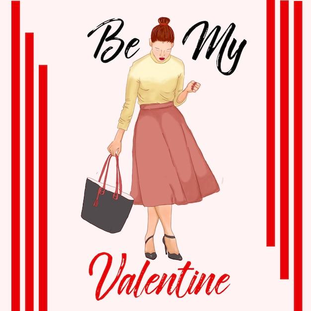 Valentines dia fashion ilustração red outfit paris Vetor Premium