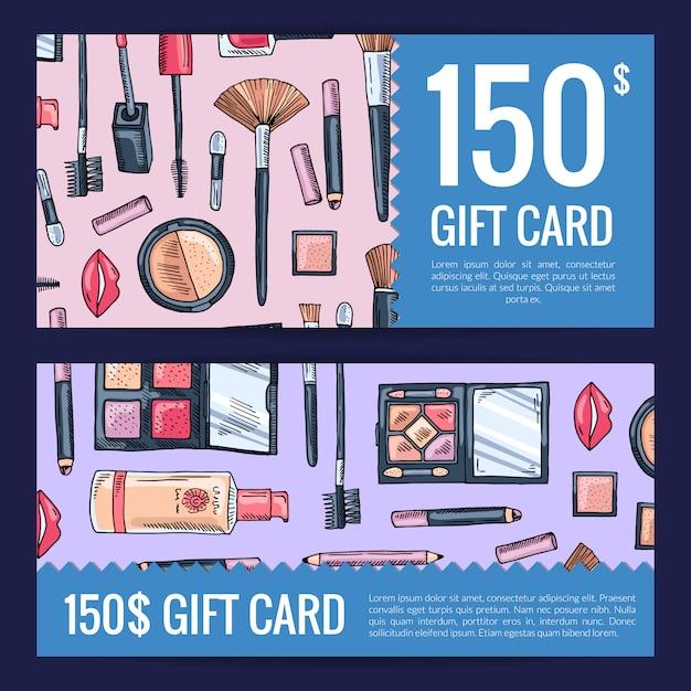 Vales de cartão de presente para produtos de beleza com produtos de maquiagem de mão desenhada Vetor Premium