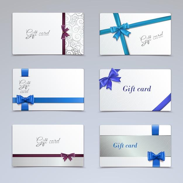 Vales de cartões de presente elegante modelo de certificados de fita de papel conjunto ilustração vetorial isolado Vetor Premium