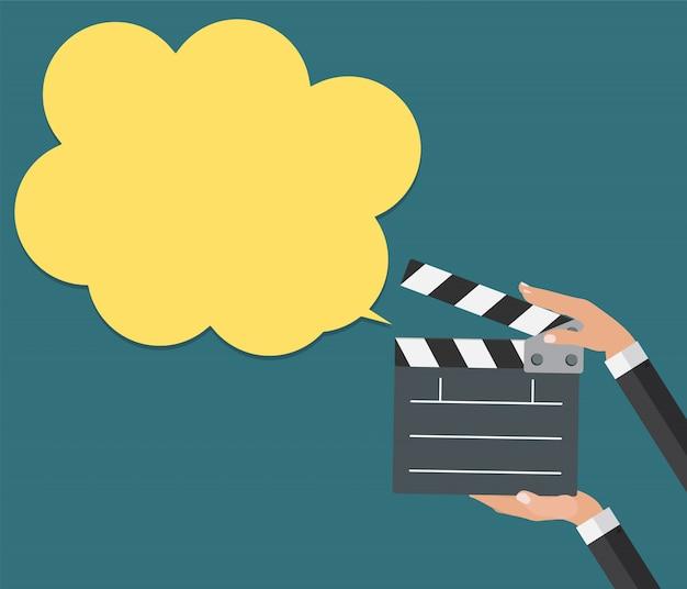 Válvula de cinema abstrata com ícone de símbolo plano de bolha do discurso. vec Vetor Premium