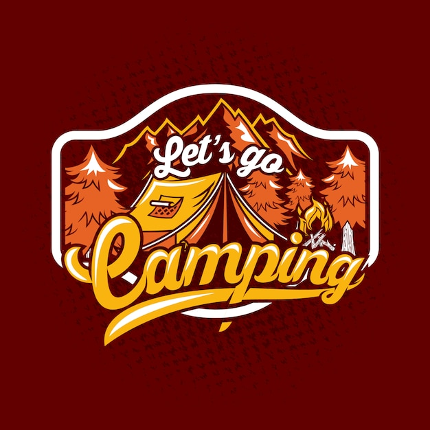 Vamos acampar citação dizendo distintivo Vetor Premium