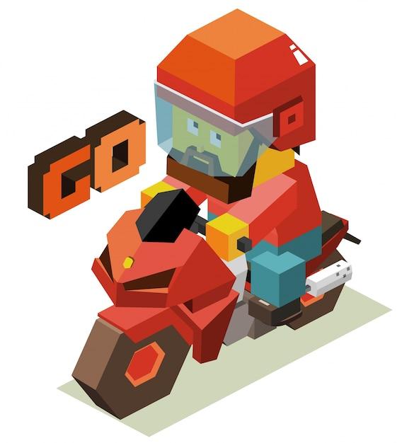 Vamos com motocicleta Vetor Premium
