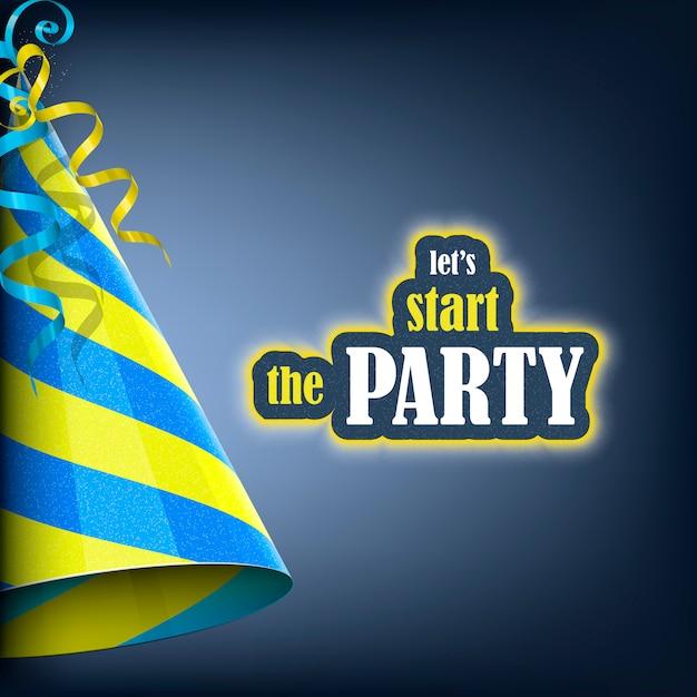 Vamos começar a festa, banner de férias Vetor Premium