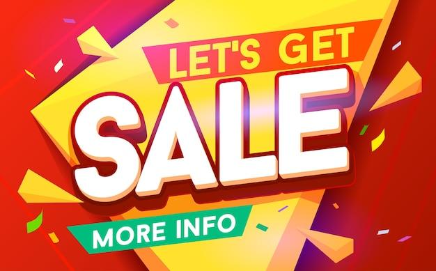 Vamos pegar um banner de venda. venda e descontos. Vetor Premium