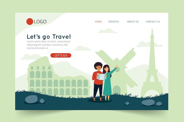 Vamos viajar landing page Vetor grátis