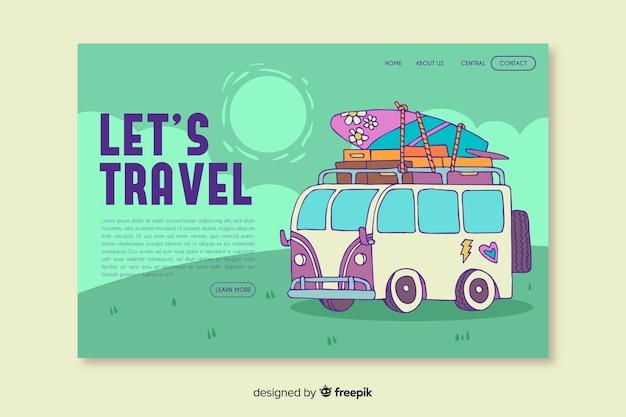Vamos viajar na página de destino com ilustração Vetor grátis