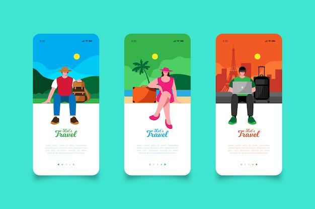 Vamos viajar pelas telas de aplicativos para dispositivos móveis Vetor grátis