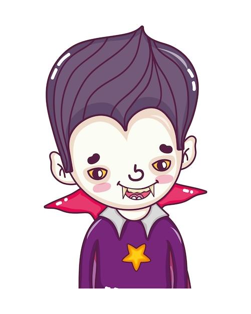 Vampiro de menino com dentes e terno gótico Vetor Premium