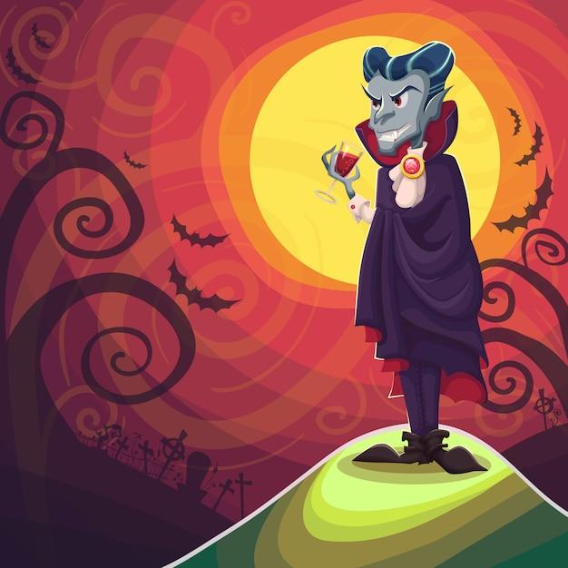 Vampiro drácula para o halloween Vetor Premium