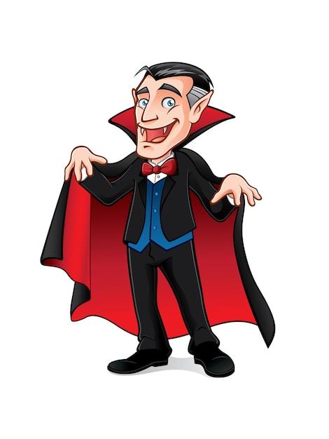 Vampiro está se preparando para assustar as pessoas com um sorriso e expandindo sua capa Vetor Premium