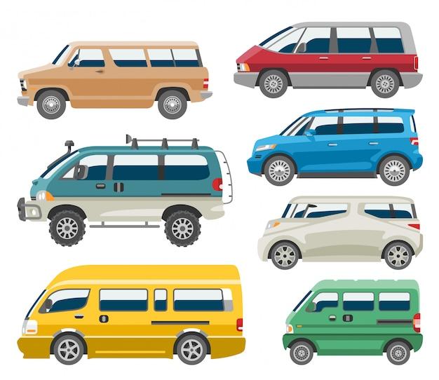 Van carro auto veículo minivan família minibus veículo e automóvel citycar em ilustração de fundo branco Vetor Premium