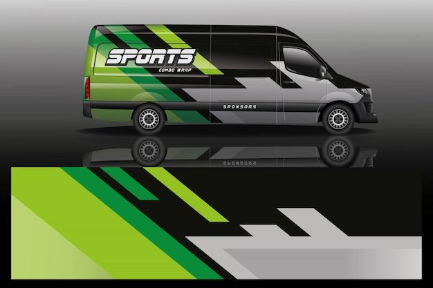 Van carro envoltório design para empresa Vetor Premium