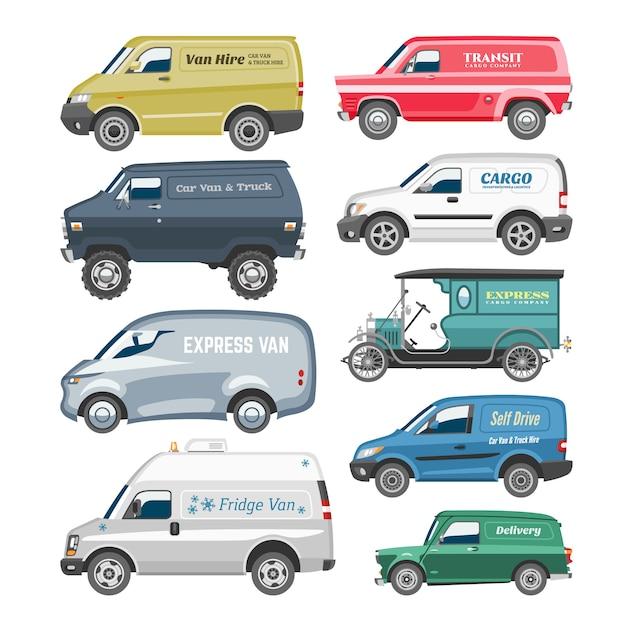 Van carro minivan entrega carga auto veículo família microônibus caminhão e automóvel van citycar na ilustração de fundo branco Vetor Premium