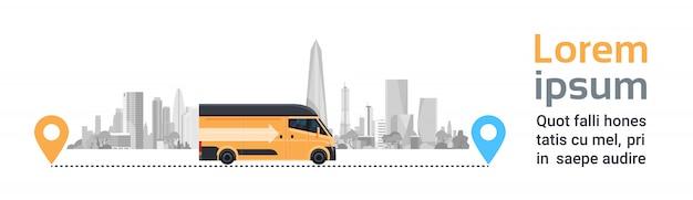 Van de entrega na cidade entre ponteiros de localização. transporte de mercadorias de produtos, transporte rápido Vetor Premium