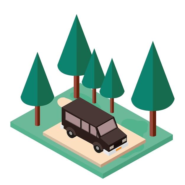 Van estacionamento e ícone isométrica de cena de árvores Vetor Premium