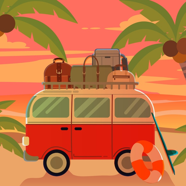 Van na praia com pôr do sol no tema de verão Vetor Premium