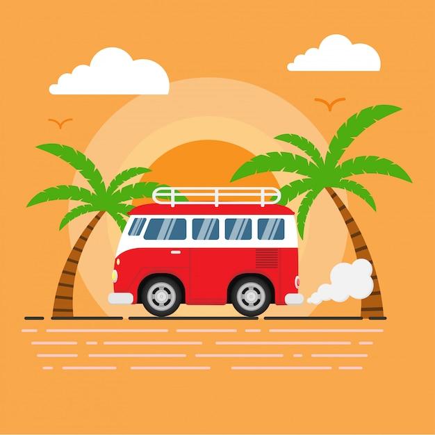 Van retrô vermelho corre ao longo da praia com pôr do sol, coqueiros e aves como pano de fundo Vetor Premium