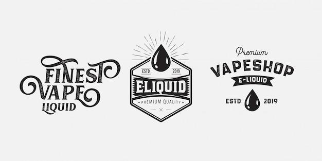 Vape badge logo vintage Vetor Premium