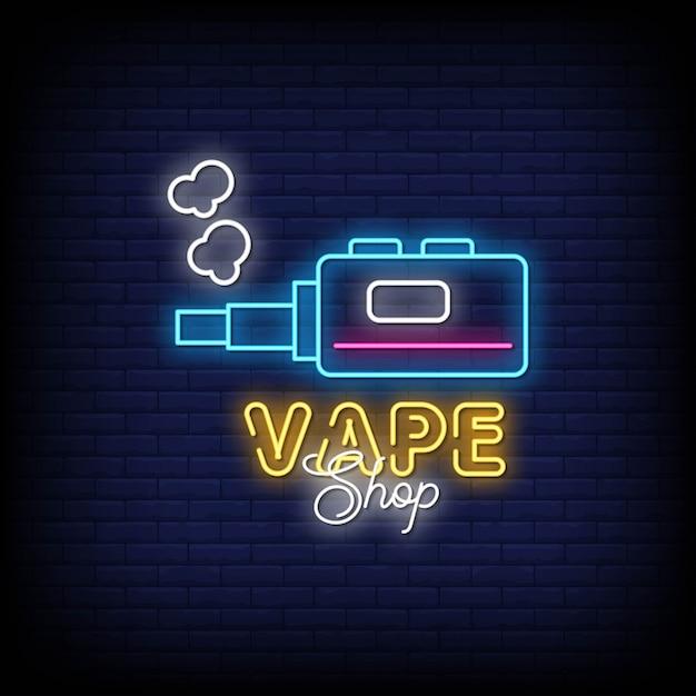 Vape shop neon signs estilo texto Vetor Premium