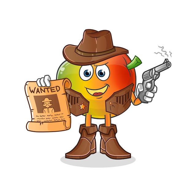 Vaqueiro de manga segurando uma arma e ilustração de cartaz de procurado. personagem Vetor Premium