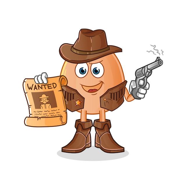 Vaqueiro de ovo segurando uma arma e ilustração de cartaz de procurado. personagem Vetor Premium