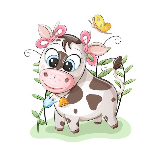 Vaquinha fofa com laços rosa nas orelhas, olhando uma linda flor Vetor Premium