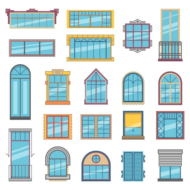 Varanda e janelas de madeira ou de plástico com vidro. Vetor Premium