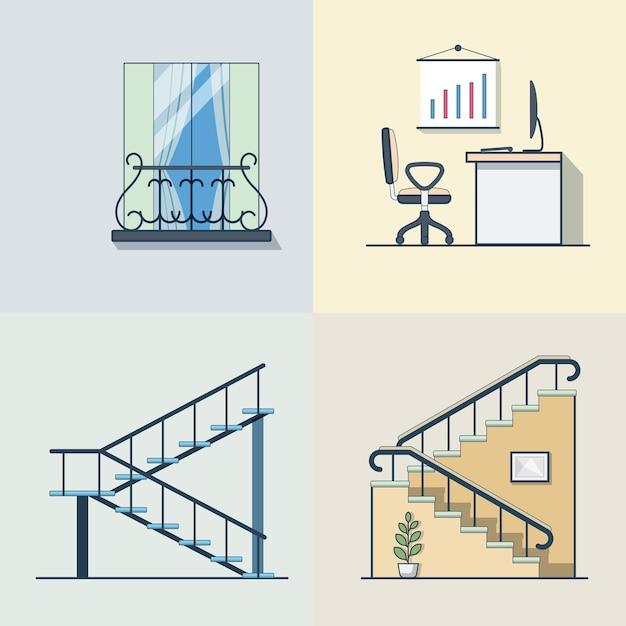 Varanda escritório local de trabalho escada contorno linear edifício conjunto de elementos de arquitetura. ícones de estilo simples de contorno de traço linear. coleção de ícones de cores. Vetor grátis