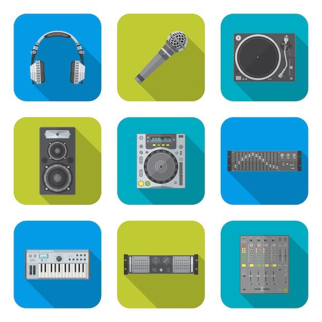 Vária cor design plano som equipamentos dj dispositivos ícones conjunto fundo quadrado Vetor Premium