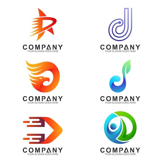 Variação da coleção de logotipos da letra d Vetor Premium