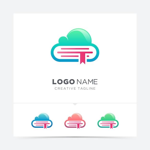 Variação do logotipo do livro em nuvem Vetor Premium