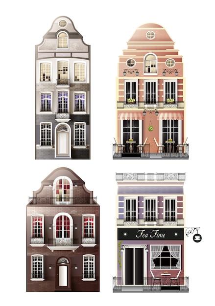 Variações de antigas casas de fachada européias Vetor Premium